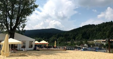 Zarabie Beach in Myslenice, Raba River